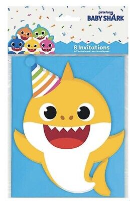BABY SHARK  INVITATIONS (8) ~ Birthday Party Supplies Cards Decoration Birthday Invitations Decorations