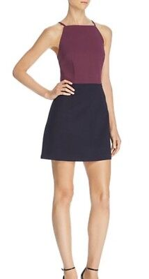 French Connection Color Block Dress Plumb Size 0   (16A) (Plumb Dress)
