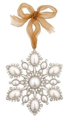 Weihnachten Schneeflocke Weiß Kunstperlen Metall Hängende Dekoration 11.3 X