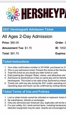 Hershey Park All Ages 2-day Admission tickets