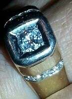 mans yellow gold ring 930ccassions diamonds..