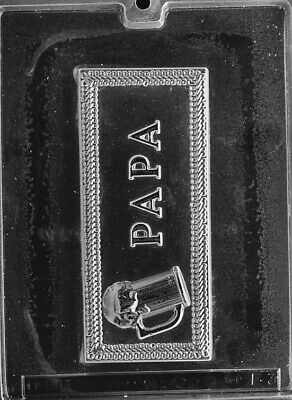 PAPA WITH BEER GREETING CARD  mold Chocolate Candy cake toppers fathers day  - Fathers Day Candy Card