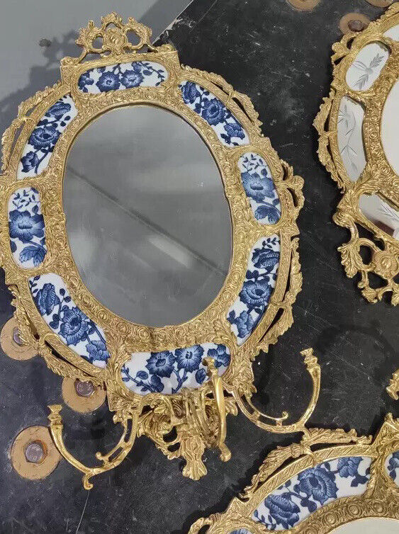 58x39cm Brass framed oval mirror porcelain plaque Chinoiserie European Style