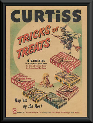 Halloween Curtiss Candy Bars Advertisement Reprint On 65 Year Old Paper *P163 - Advertising Halloween