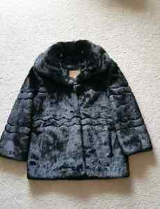 Stylish Winter Faux Fur Black Coat (160 cm length)