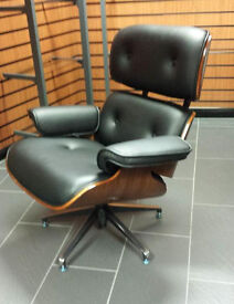 John Lewis Lounge Chair and Ottoman Rosewood Black Bonded Leather