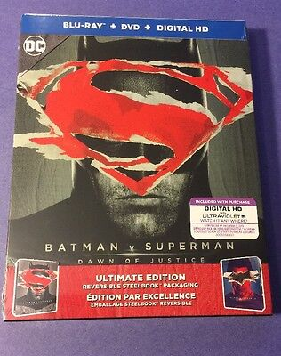 Batman V Superman Dawn Of Justice Blu Ray Combo  Ultimate Edition Steelbook  New