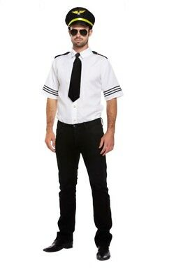 Men's Hunky Airline Pilot Aviator Captain Mile High Fancy Dress Costume Outfit](Airline Pilot Costume)