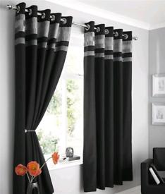 Faux Silk Pintuck Ruffle Panel Curtains