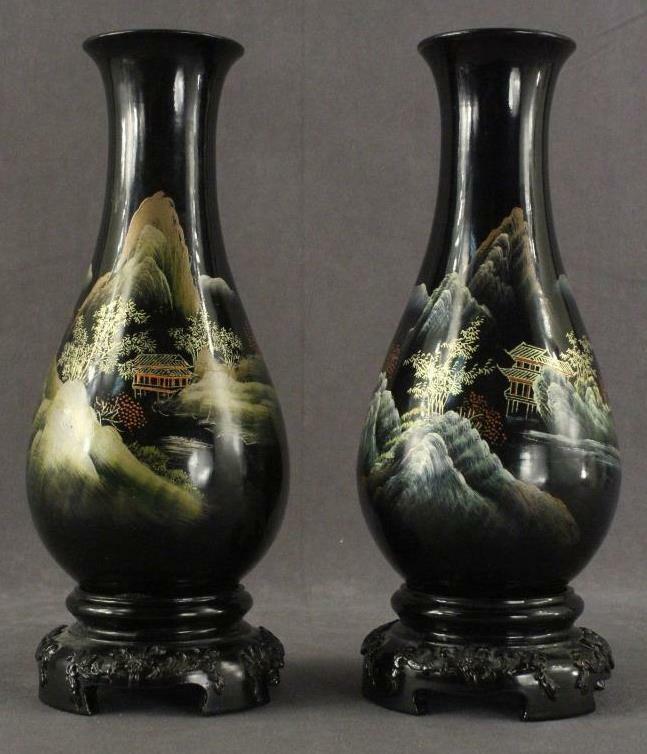 Vintage Asian Art Japan Black Lacquer Ware Set 2 Mantel Vases Mt Fuji Temple