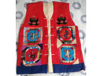 Colourful Oriental Style Padded Waistcoat (Medium/Size 10 approx.)