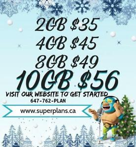 10GB $56/mo - Reduced Setup Fee and Bonus Credits - KOODO Canada-wide Phone Plan - 2/4/6/8/10/15 GB - www.SuperPlans.ca