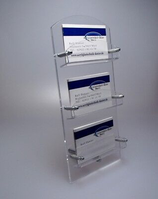 NEU! 3-Fach Visitenkartenständer mit Metallfuß aus Acrylglas,Visitenkartenhalter