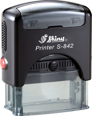 Shiny Printer S-842 Custom 3 Line Text Address Office Self-ink Rubber Stamp