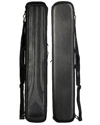 4 Shaft Hard Case - Lucasi LC948W 4x8 Black Weave Hard Case - Holds 4 Complete Cues w/4 Xtra Shaft