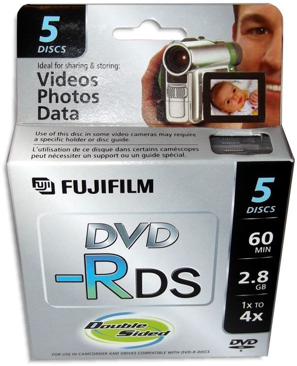 5-Pak FUJIFILM Mini DVD-R Double Sided 2.8GB 60-Min for Sony Camcorders