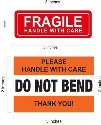 1 X 3 Red Fragile Stickers 2 X 3 Do Not Bend Orange Sticker Handle With Care