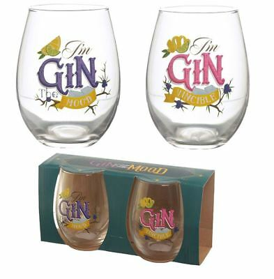 SET OF 2 GIN SLOGANS DRINKING GLASSES GLASS TUMBLERS NEW AND GIFT BOXED