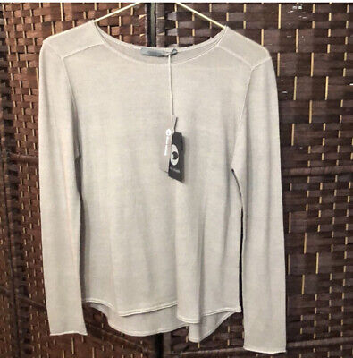 NWT Denis Colomb Grey Pure Cashmere Hand Knit Ladies Sweater Size Small
