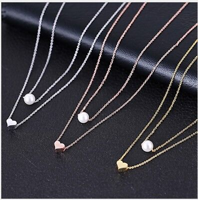 Adjustable Heart Drop Necklace (925 Sterling Silver Adjustable Two Layer Heart Pearl Pendant Necklace Women PE16 )