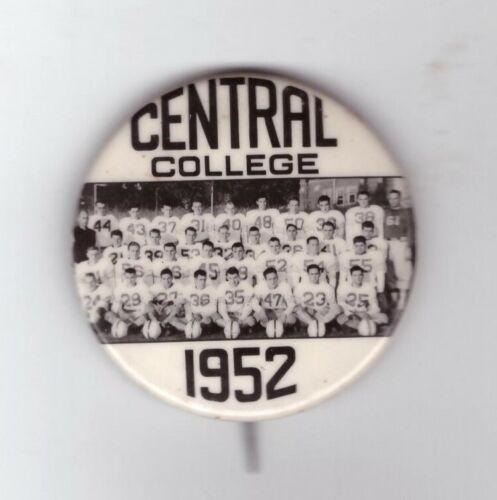 """1952 CENTRAL COLLEGE PELLA IOWA FOOTBALL BUTTON 1 3/4"""" CELLO"""