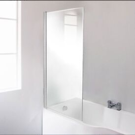 Fixed straight shower bath screen, 6mm toughened glass, width: 821mm height: 1430mm