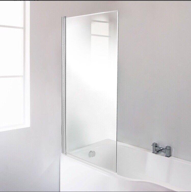Fixed straight shower bath screen, 6mm toughened glass, width: 821mm height: 1430mm