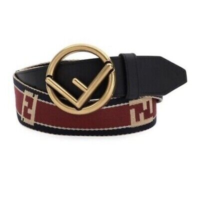 Fendi Men's Forever Logo Buckle Belt In Red And Size 32/85 Brand New With Tag