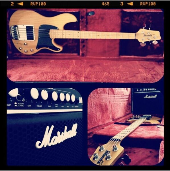 Ibanez ATK 305 5-string Bass guitar (Natural) with Marshall amp and guitar case for sale  Maidenhead, Berkshire