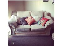 Cream 2 seater sofa and x2 matching arm chairs