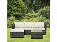 3 Piece Patio Rattan Corner Sofa Set Garden Furniture Outdoor