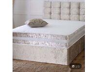 Double velvet bed, mattress, diamanté button headboard