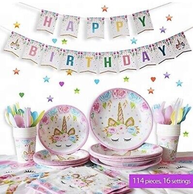 Unicorn Party Set For 14, Dinner Plates, Cake Plates, and Cups, Birthday Decor