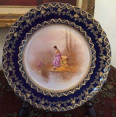Haviland Limoges Handpainted Cabinet Cobalt Gold Portrait Plate Signed