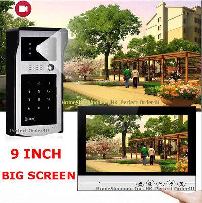 "9"" Wired Video Door Phone Intercom System+RFID Card IR Camera+Photo/Video Record"