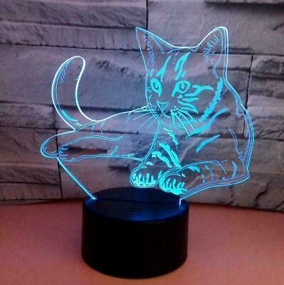 Nacht Licht Top (1x NEU 3D-Cat nacht licht Room Decor Geschenk 7 LED-Lampe an Farbe ändern TOP!!)
