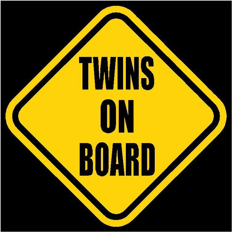"TWINS ON BOARD Window Decal/Sticker Yellow 5.5"" Tall"