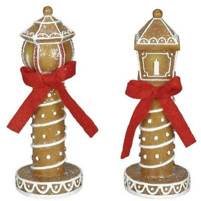 Set of 2 Sugared Gingerbread Cookie LAMP POST Candy Christmas Village decor 4.5](Lamp Post Decorations)