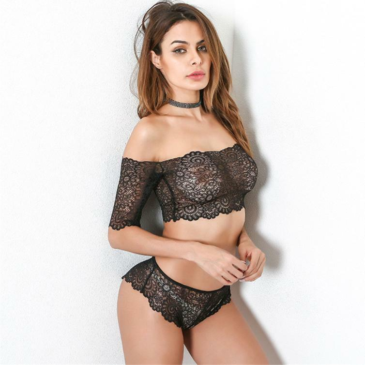 Women Lingerie Corset Lace Push Up Top Bra+Pants Underwear Set A Word Shoulder