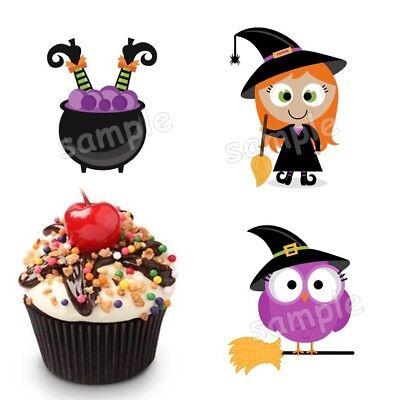 Halloween Hexe Eule Topf Eßbar Party Deko Tortenaufleger Muffinaufleger - Halloween Hexe
