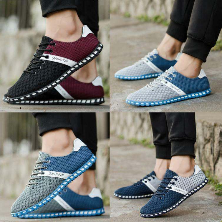 High Valu Men Lace-Up Mesh Comfortable Breathable Sneakers Flat Shoes New Style