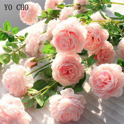 Fake Rose Artificial Silk Peony Pink Flowers Bridal Wedding Bouquet Home
