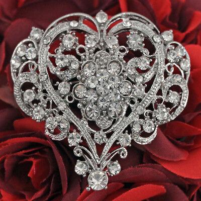 Crystal Rhinestone Heart Silver Brooches Pins For Wedding Bridal Bouquet Decor Crystal Heart Pin