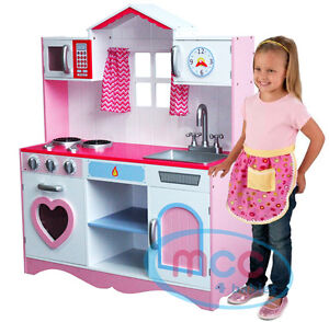 large girls kids pink wooden play kitchen children 39 s role play pretend set toy ebay. Black Bedroom Furniture Sets. Home Design Ideas