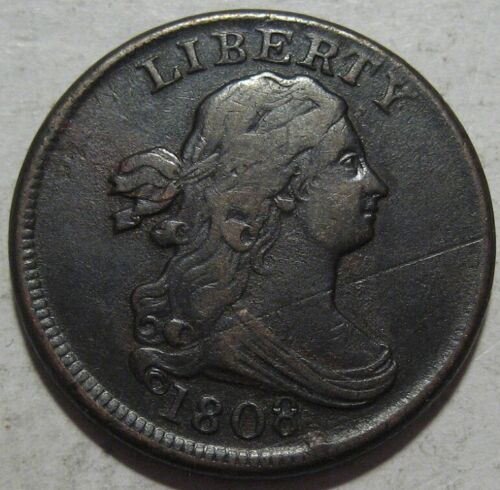 = 1808 VF Half Cent, Scratched, Nice Details & EYE Appeal, FREE Shipping