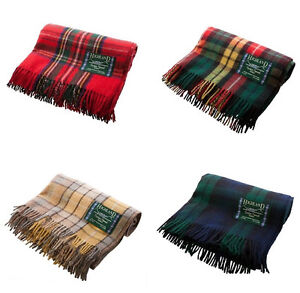 Scottish 100 Wool Tartan Check Plaid Blankets Rug Throws