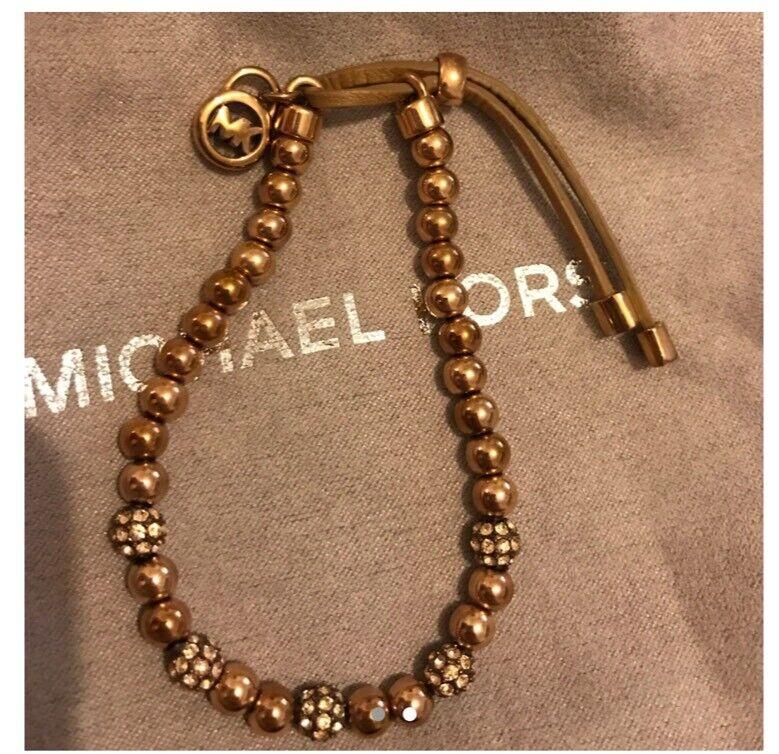 ec8aea8dde92 Michael kors beaded elastic rose gold bracelet