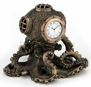 Steampunk Octopus Diving Bell Clock Statue Nautical