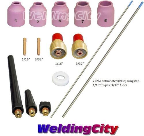 "TIG Welding Torch 9/20 Kit Gas Lens-Tungsten (Blue) 1/16""-3/32"" T50B | US Seller"