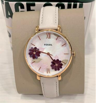 FOSSIL ES4672  Jaqueline Floral Dial Watch Rose Gold w/ Gray Leather Band NWT